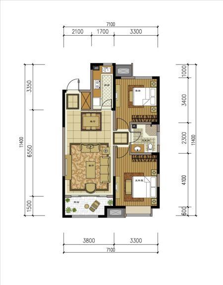 戶型:兩室兩廳一衛 90平方米   主臥帶飄窗,視野通透 3.圖片